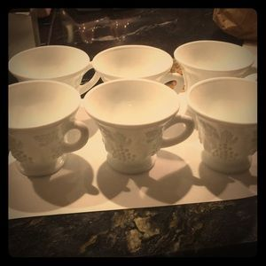 (6) white vintage cups (?punch)
